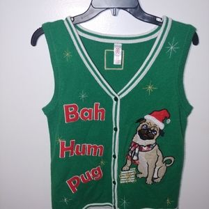 Pug Dog Ugly Christmas Sweater Vest Size 4-6